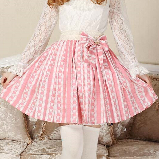 Super-Cute-Lolita-Pink-Bunny-Print-Bow-Decoration-Skirt-Princess-Sweet-original-design-Rabbit-Pleated-Women