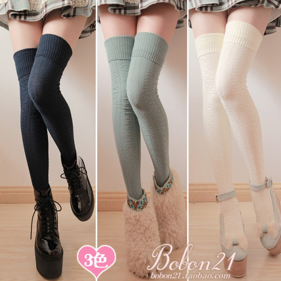 Sweet-lolita-Bars-bobon21-delicate-cutout-plaid-decorative-pattern-lengthen-over-the-knee-socks-thigh-socks