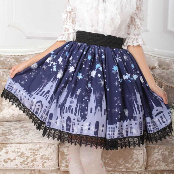 XS-XL-Plus-size-Cute-Starry-Sky-Skirts-Castle-Lolita-Dark-Blue-Pleated-Knee-Length-Skirt