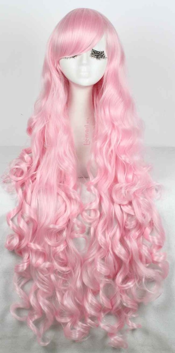 long curly pink hair wig