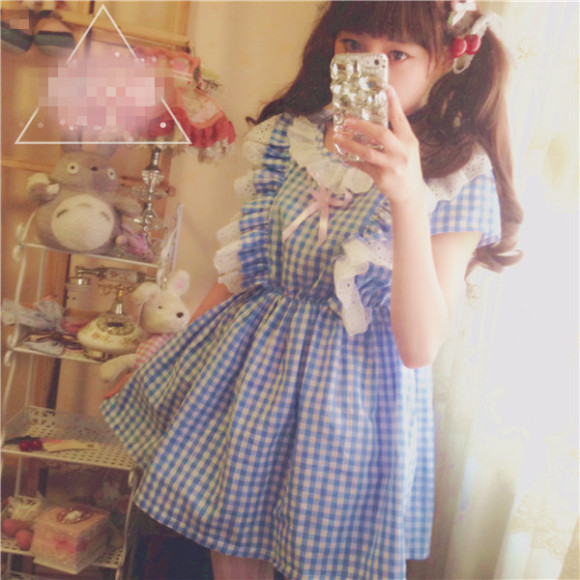 Summer-HARAJUKU-Japan-dresses-Kawaii-Sweety-Young-Preppy-style-Vintage-Plaid-Dress-Soft-Cute-Lolita-Short