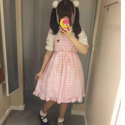 Summer-Lolita-Pink-Plaid-Strawberry-Dress-Cotton-Fashion-Cute-Lovely-Preppy-Style-Students-Kawaii-Girls-Japanese
