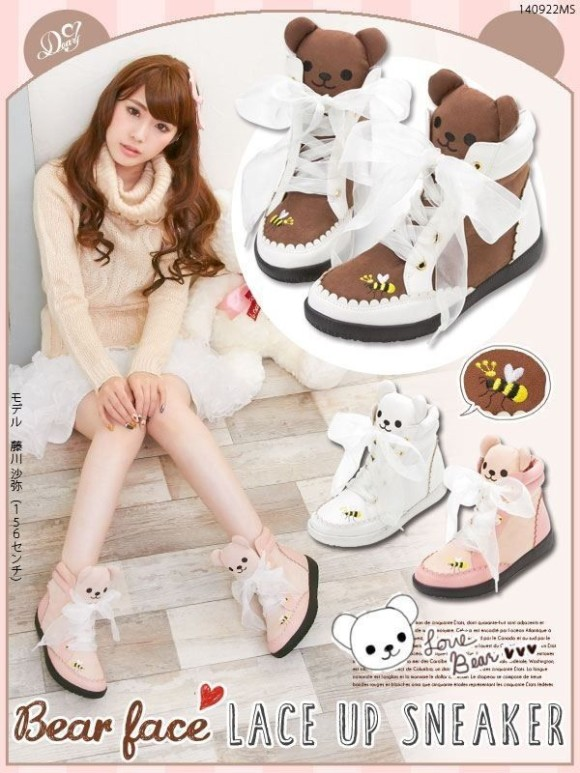 Cute-Harajuku-Womens-Bears-Bees-Embroidery-Lace-up-Sport-Shoes-AMO-Bees-Kawaii-Lolita-Flat-Sneakers