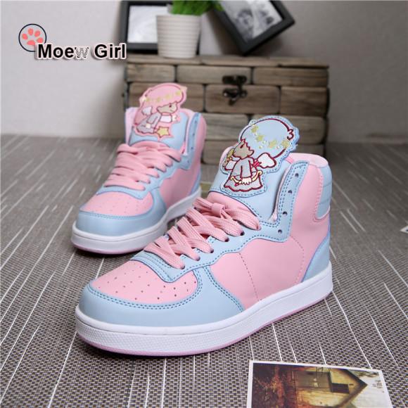 Cute-Harajuku-Womens-Sport-Shoes-Twin-Pricess-Sticker-AMO-Pink-Kawaii-Lolita-Running-Sneakers-Bears