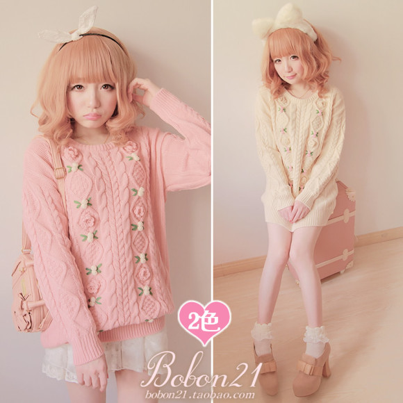 Princess-sweet-lolita-sweater-BOBON21-soft-amo-pink-3D-small-flowers-twist-thick-sweater-Autumn-and