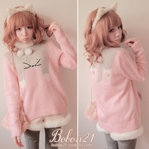 Princess-sweet-lolita-sweater-Bobon21-winter-new-arrival-small-totoro-soft-fenfen-sweater-t0950-lolita-clothing