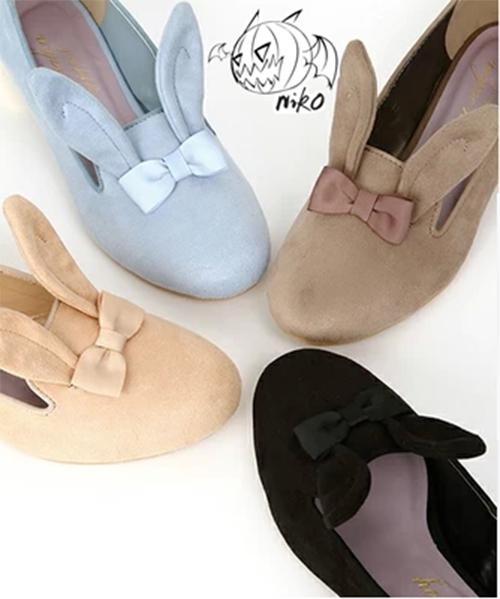 Super-Cute-Womens-Lolita-Rabbit-Ears-Bow-Ballet-Flats-Shoes-Bunny-Pink-Blue-Black