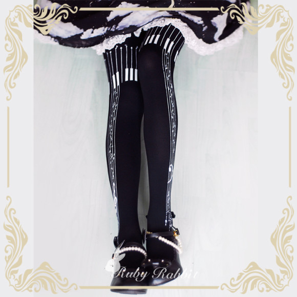 Romantic Fancy Printed Tights for Lolita or Other Elegant Coords (3)