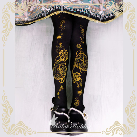 Romantic Fancy Printed Tights for Lolita or Other Elegant Coords (4)