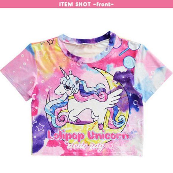f4db3c77 ACDC RAG Lollipop Unicorn Chibi T-Shirt